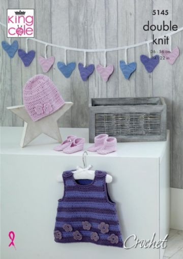 King Cole 5145 Crochet Pattern Pinafore Dress Bunting Hat Shoes and Bootees in Cottonsoft DK
